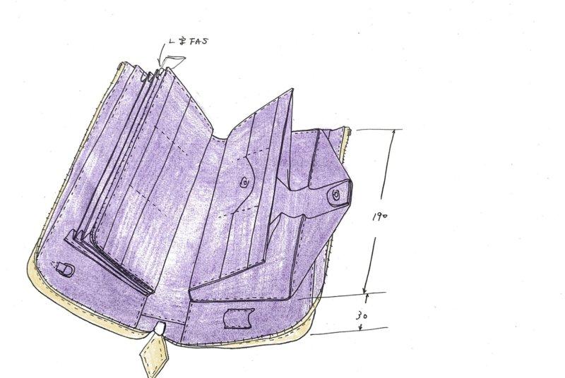 イエローシャイニングクロコダイル/ワニ革L字ファスナー財布をオーダーメイド