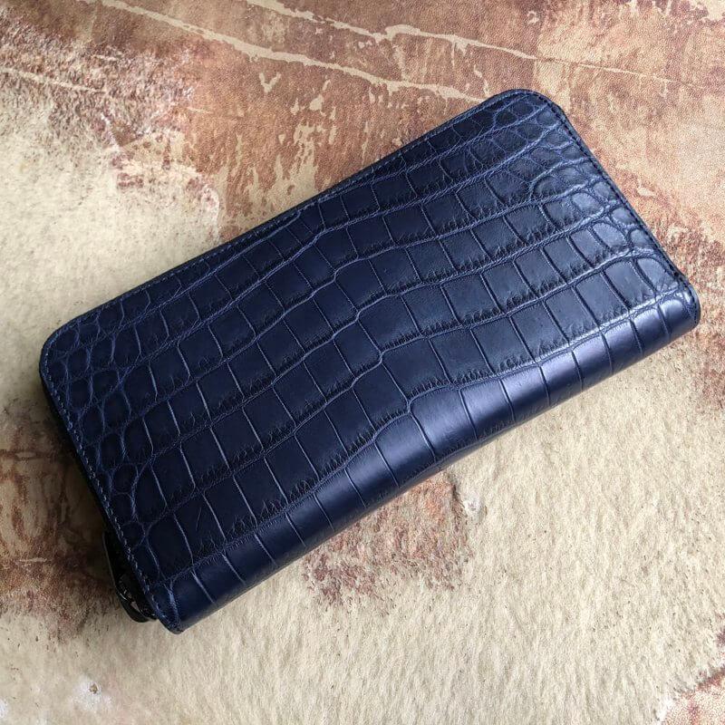 ネイビー/クロコダイル長財布