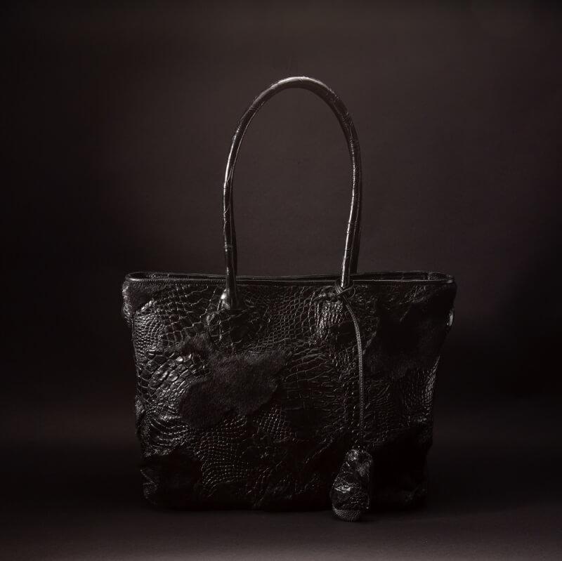 クロコダイル×アザラシ×天然石の長財布、トートバッグ