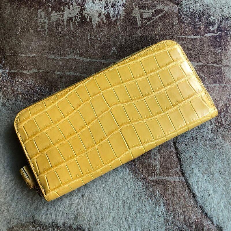 イエローのクロコダイルで長財布のオーダーメイド