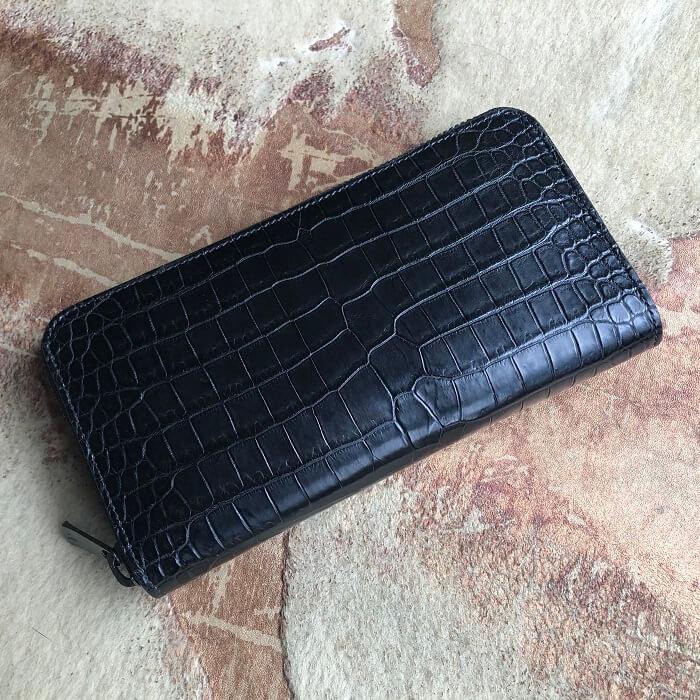 ポロサス スモールクロコダイル ラウンドファスナー長財布 ブラック