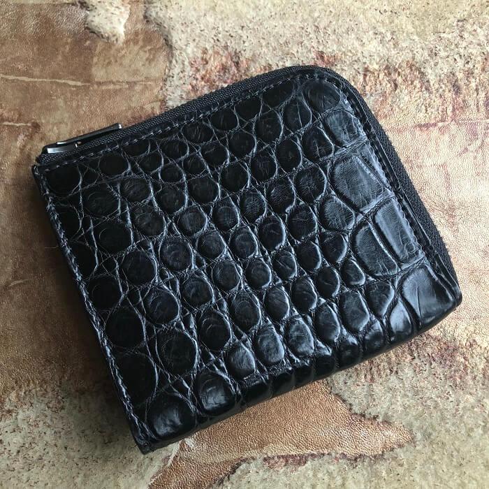 ポロサス、スモールクロコダイルL字ファスナーミニ財布