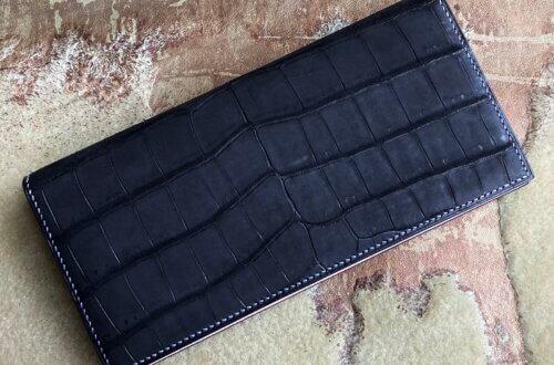 フルオーダーメイドのヌバック加工クロコダイル二つ折り長財布